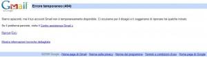 errore temporaneo gmail 404