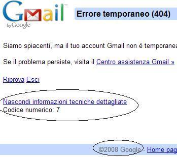 errore gmail dettagli