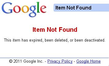 google base item not found